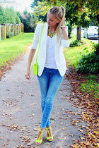 white Lovelywholesale watch - blue H&M jeans - white H&M blazer