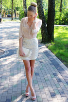cream Primark blouse - ivory ARAFEEL bag - cream H&M skirt - peach LaLa heels