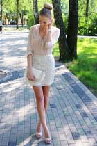 cream Primark blouse - ivory ARAFEEL bag - cream H&M skirt - peach LaLa heels