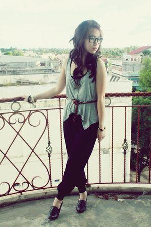 gray Top Shop top - gray Zara shoes - black vintage pants