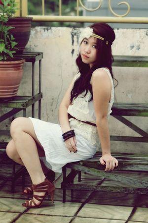 white H&M dress - beige vintage top