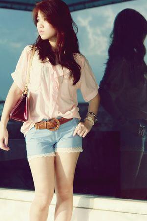 pink vintage blouse - purple Louis Vuitton - blue vintage shorts - white vivienn