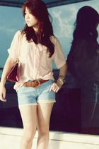 pink vintage blouse - purple Louis Vuitton - blue vintage shorts - white vivienn