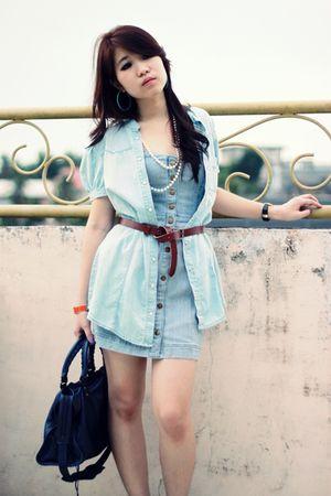 blue Forever 21 dress - blue Zara dress - blue balenciaga - blue Zara shoes - or