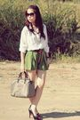 White-vintage-shirt-green-vintage-shorts-gray-gucci-bag-black-christian-lo