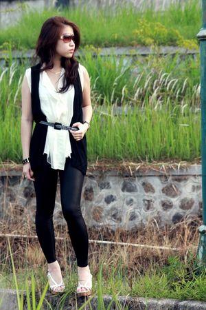 black supre leggings - white Steve Madden shoes - black Zara vest - white Gaudi