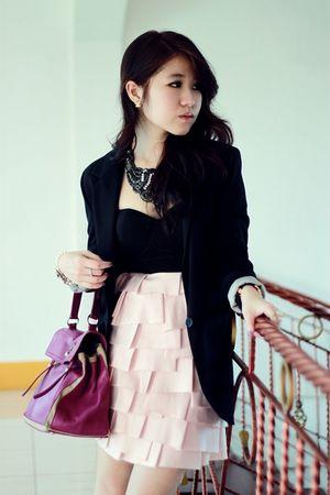 black cotton on blazer - pink Lipsy London dress - black Rotelli shoes - purple