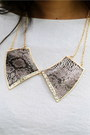 Brown Snakeskin Print CrossWoodStore Necklaces