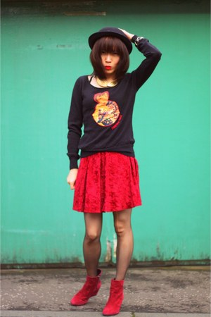 ruby red velvet Urban Outfitters skirt - ruby red wedge heels Office boots