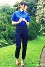 Blue-wood-wood-shirt-navy-high-weist-h-m-pants-red-bracelet-bracelet