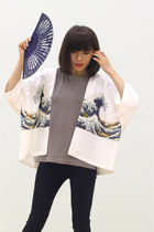The Great Wave Tsunami Cropped Kimono Cardi
