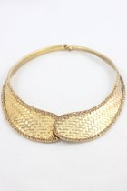Vintage Style Crystal Bronze Collar Necklace