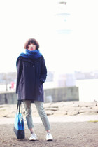 blue kate spade bag - navy wool sessun coat - lime green cropped Mango pants