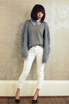 white lace collar CrossWoodStore accessories - white jeans Gap jeans