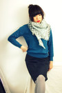 Light-blue-linen-crosswoodstore-scarf-gray-midi-uniqlo-skirt