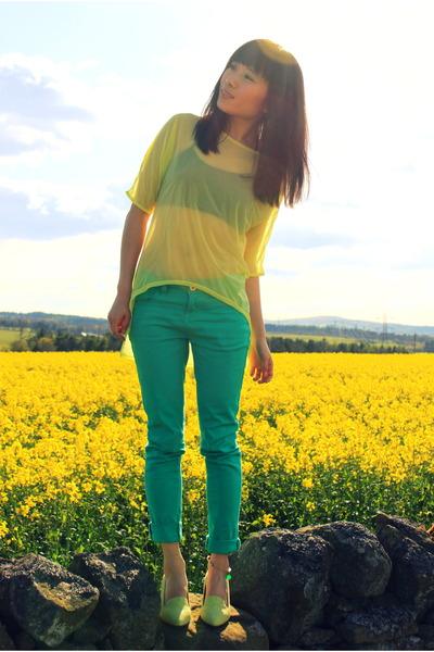 lime green low heel asos heels - light yellow chiffon asos top