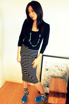 Miss Selfridge skirt - cotton striped H&M socks - D-Fuse heels