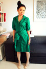 Dark-green-collared-belted-amani-dress-ivory-office-shoes