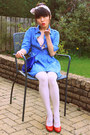 Sky-blue-denim-vintage-dress-ivory-obsque-tights-primark-tights
