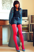 hot pink hot pink Zara tights - light blue shiny details liu jo cardigan