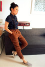 Brown-cuffed-corduroy-forever-21-pants-navy-short-sleeve-hekey-shirt