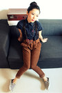 Navy-short-sleeve-hekey-shirt-brown-cuffed-corduroy-forever-21-pants