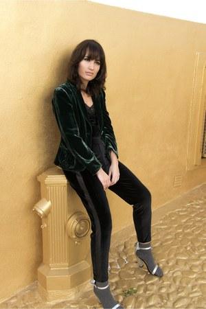 dark green velvet Mango blazer - silver Calzedonia socks