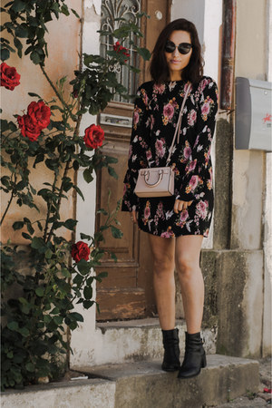 light pink Michael Kors bag - black Aldo boots - pink Mango dress