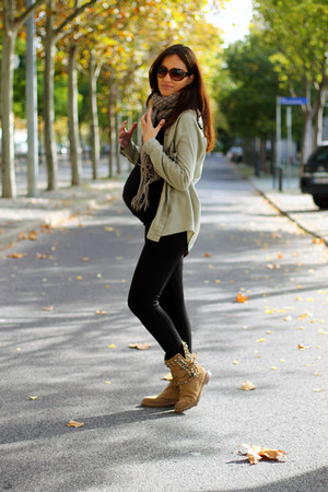 light brown Zara boots - black Zara shirt - olive green Mango sunglasses