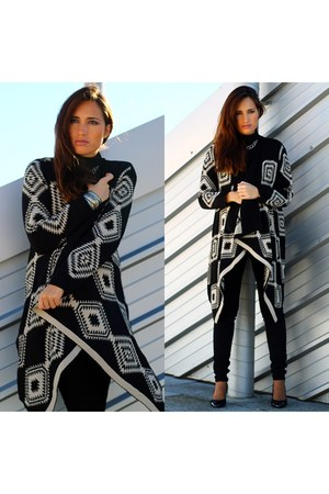 black cardigan - AX Paris cardigan - black H&M jeans - black Zara heels