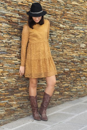 black Promod hat - brown Kickers boots - mustard Forever 21 dress