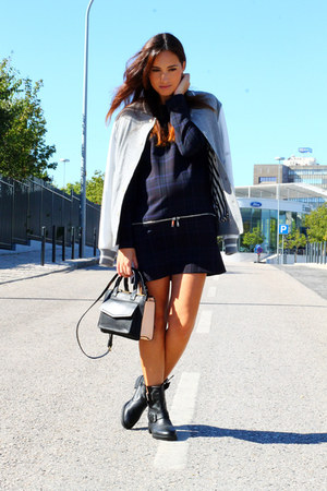 black Zara boots - navy Zara dress - silver River Island jacket - nude Zara bag