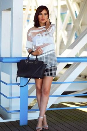 Zara shorts - black leather Michael Kors bag - white Front Row Shop blouse
