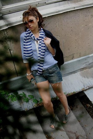 Mango shirt - H&M scarf - Zara heels