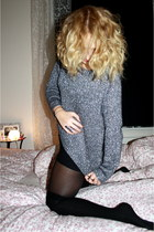 silver H&M sweater - black Topshop stockings - silver Urban Outfitters ring