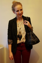 charcoal gray Vero Moda blazer - brick red Zara jeans - black Ebay bag