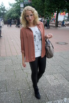 brick red Zara blouse - black fake leather flea market leggings - brown Zara bag