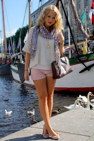 amethyst H&M scarf - brown flea market bag - light pink Zara shorts