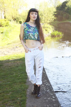 green vintage top - white Boohoo jeans