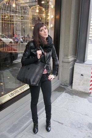 red Jeans Paul Gauiltier shirt - black Zara jacket - black Zara pants - black Fe