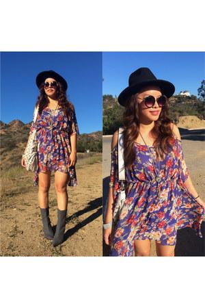 gray gray boots Nine West boots - violet floral print SYLK dress