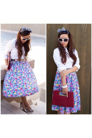 midi vintage skirt - white button down ann taylor shirt