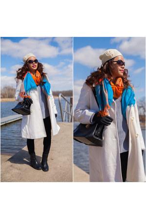 black satchel Mad Style bag - white wool peacoat Anne Klein coat