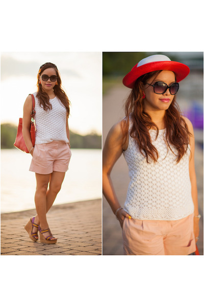 red bow vintage hat - white sleeveless tank vintage sweater