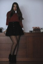 black Stradivarius skirt - wool Springfield sweater