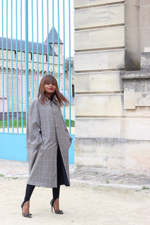 vintage coat - Stradivarius pants - Jimmy Choo pumps