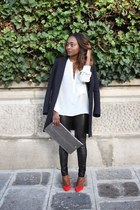 Zara blouse - Maje coat - SANDRO leggings - Zara heels