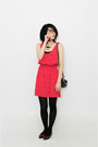 Red-woohoonyc-dress-black-american-apparel-tights-brown-woohoonyc-shoes