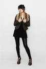 Tawny-loewe-scarf-dark-brown-jacket-black-h-m-leggings