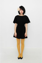 black In God We Trust dress - gold American Apparel tights - black vintage shoes
